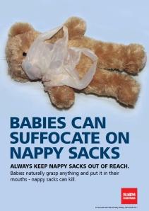 nappy sacks dangers suffocation choking RoSPA