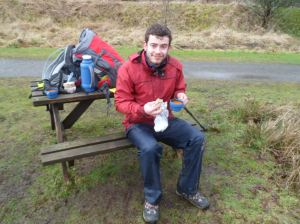 Kenneth makes a quick pit stop while in training for the West Highland Way.