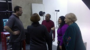 Helen briefs, from left, Rich, Lachman, Alison and Virginia on exactly what shot she wants.