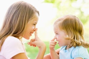 Very young children often copy their parents' behaviour.