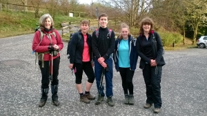 Liz (far right), Donald (centre) and friends at the start of the walk.